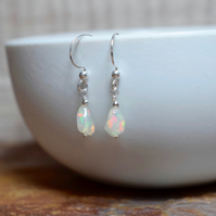 Ethiopian Opal Drop Earrings, Opal & Sterling Silver Earrings