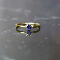 Iolite & 14k Gold Filled Gemstone Ring, Stacking Ring