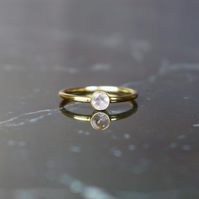 Rose Quartz & 14k Gold Filled Gemstone Ring, Solitaire Ring