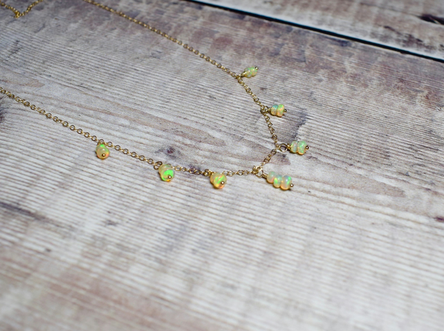 Floating Opal Necklace, Ethiopian Opal & 14k Gold Filled Necklace