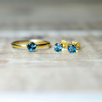 London Blue Topaz Jewelry Set, Blue Topaz Ring & Stud Earrings