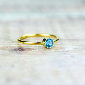 Swiss Blue Topaz & 14k Gold Fill Gemstone Ring, Birthstone Stacking Rings