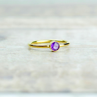 African Amethyst & 14k Gold Filled Gemstone Ring, Birthstone Stacking Ring