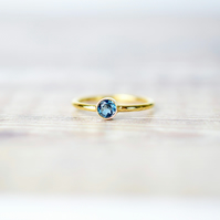 London Blue Topaz & 14k Gold Filled Gemstone Ring, Birthstone Stacking Ring