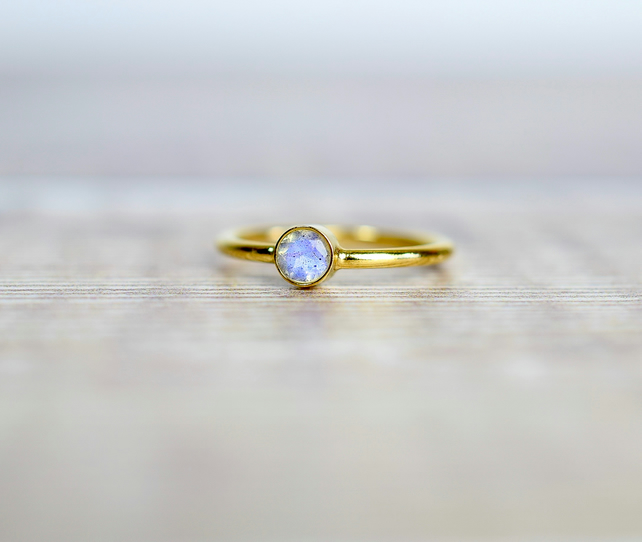Blue Flash Labradorite & 14k Gold Filled Gemstone Ring, Stacking Ring