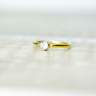White Topaz & 14k Gold Filled Gemstone Ring, Birthstone Stacking Ring