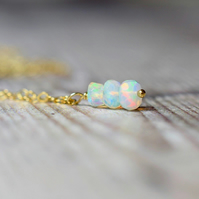 Opal Necklace, Beaded Opal Drop Pendant on 14k Gold Filled Chain