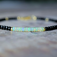 Black Spinel & Ethiopian Opal 14k Gold Filled Gemstone Bracelet