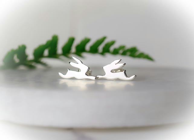Silver Hare Stud Earrings, Hare Jewellery