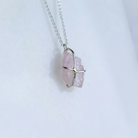 Raw Morganite Pendant Necklace, Pink Aquamarine & Silver Necklace
