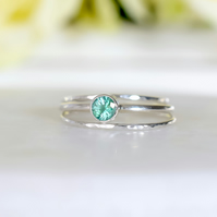 Genuine Emerald Stacking Ring Set in Sterling Silver