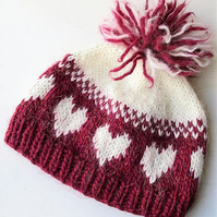 OOAK Hand Knitted Lopi Hat, Pink and White Heart Pompom Hat