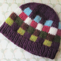 Lopi Wool Hand Knitted Hat, Purple Beanie Style Hat, Alafoss Lopi Yarn