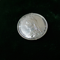 Victorian Sixpence Charm, Queen Victoria, Antique Coin Charm