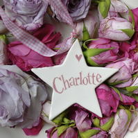 Personalised Star in Pink for a Christening or New Baby