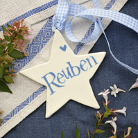 Personalised Star in Pale Blue for a Christening or New Baby