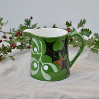 Christmas Green Holly & Mistletoe Milk Jug
