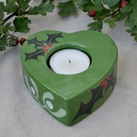 Green Holly & Mistletoe Christmas Tea Light Holder