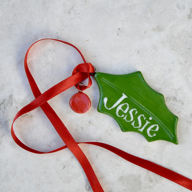Christmas Leaf Name.Holly Leaf With Berry Personalised Christmas Decoration