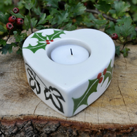 Holly & Ivy Christmas Tea Light Holder