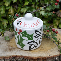 Christmas Holly & Ivy Cranberry Sauce Pot