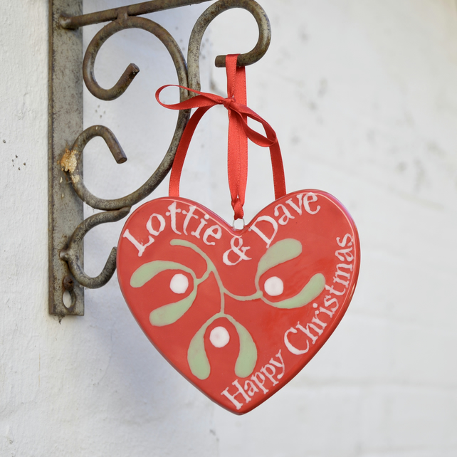 Personalised Red Mistletoe Heart