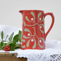 Christmas Red Mistletoe Farmhouse Jug