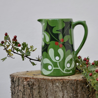 Christmas Holly and Mistletoe Farmhouse Jug