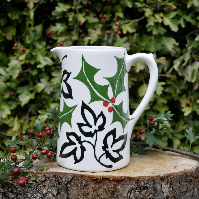 Christmas Holly and Ivy Farmhouse Jug