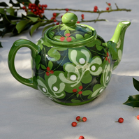 Christmas Holly and Mistletoe Teapot