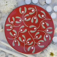 Christmas Red Mistletoe Platter