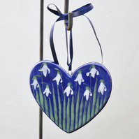 Snowdrop Heart Hanging Decoration