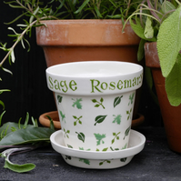Garden Herbs Small Plant Pot and Saucer SALE