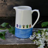 Beach Huts Farmhouse Jug