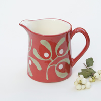 Christmas Red Mistletoe Milk Jug