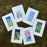 Set of 6 Flower Greetings Cards