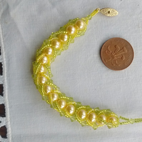 Lemon and lime flat spiral bracelet