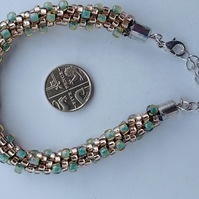 Mint and champagne Kumihimo bracelet