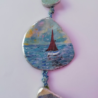 Little boat hanging shell decoration