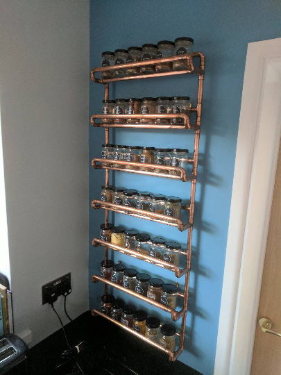Copper pipe spice rack - wall mounted - with jars - Large Version