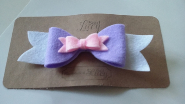 Purple and pink double bow hair clip