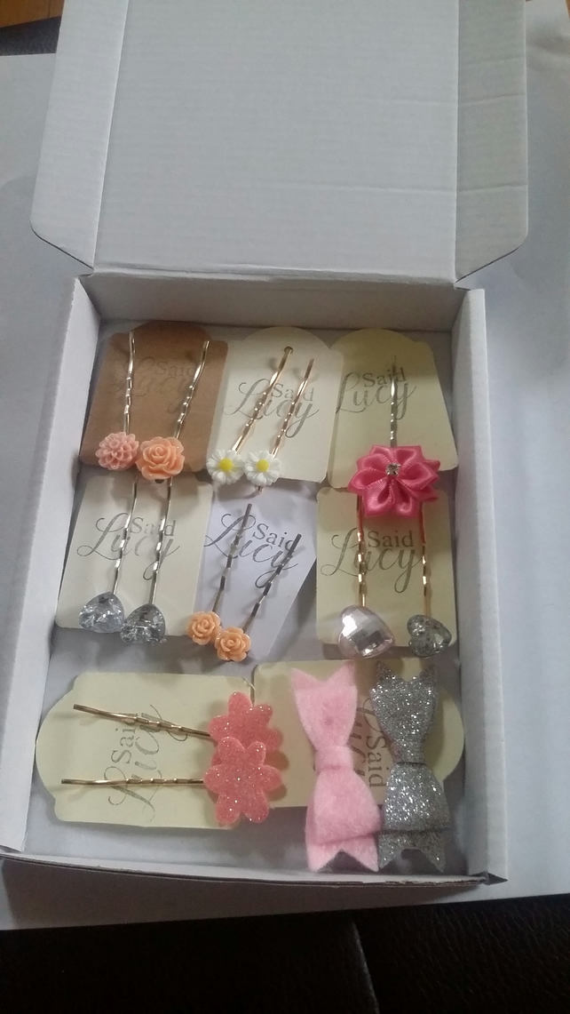 8 hair clip selection gift collection present