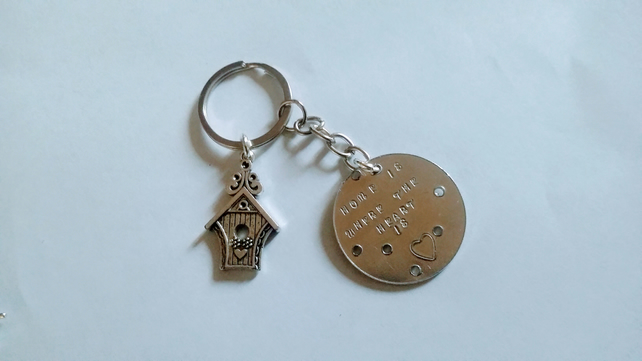Home is where the heart is keyring hand stamped