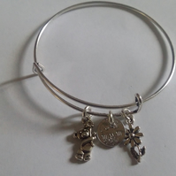 Hand stamped mum adjustable bangle with charms