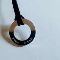 Stay Wild hand stamped washer necklace on black cord