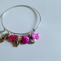 Charm summer garden butterfly purple theme adjustable bangle