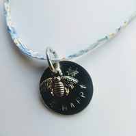 Bee happy hand stamped liberty fabric necklace