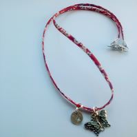 Liberty print mum necklace hand stamped with butterfly charm