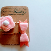 Stunning pink felt  bow and flower bobby pins