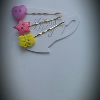 Fun spring hair clips, butterfly, heart and star bobby pins.